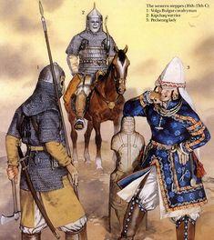 Kipchak warrior (background), Pecheneg woman (on right), Volga Bulgar cavalryman (on left).