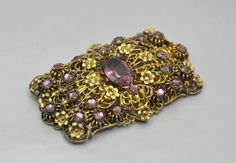 Your place to buy and sell all things handmade Vintage Costume Jewelry, Vintage Costumes, Antique Jewelry, Vintage Jewelry, Purple Amethyst, Vintage Brooches, Floral Design, Art Deco, Jewelry Design