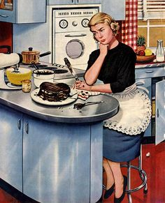 """First Cake"", May 21, 1955  By: Stevan Dohanos...I still remember my first cake.  It was a flop!"