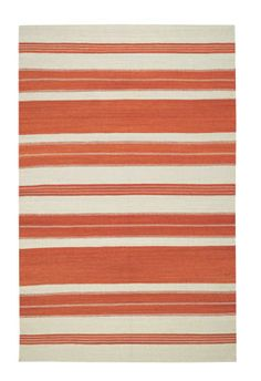 The Puhalo Stripe style is a new wool, transitional rug design from Genevieve Gorder and Capel Rugs. Puhalo Stripe rugs have a flat woven construction. The saffron colorway is a beautiful addition to our assortment of orange area rugs.
