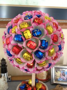 Dove chocolate topiary tree - used mini cupcake papers and double chocolate candies (for speed)... the original said to use 1x1 tissue paper under the single mini chocolate (wasn't dove)