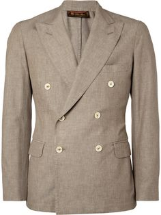 $2,295, Loro Piana Brown Unstructured Double Breasted Cotton Blazer. Sold by MR PORTER. Click for more info: https://lookastic.com/men/shop_items/336938/redirect