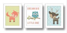 Wee Woodlands Nursery, Mix n' Match Nursery Wall Art, Baby Forest Animals Nursery Decor: Deer, Fox, Owl & Raccoon by babygabstudio on Etsy https://www.etsy.com/listing/233275404/wee-woodlands-nursery-mix-n-match
