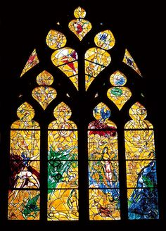 View On Black Cathedral Saint-Etienne, Metz, Lorraine, France. Stained-glass window by Marc Chagall, The expulsion from Paradise. Those were the first windows Chagall created for a church. Marc Chagall, Stained Glass Church, Stained Glass Art, Stained Glass Windows, Mosaic Art, Mosaic Glass, Chagall Windows, Architecture Religieuse, St Etienne