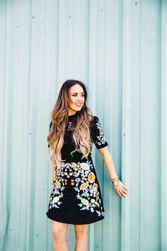 Elle Harper : Black, Floral Dress
