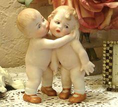 Heubach German Porcelain Bisque Kissing Boy Girl Children Figurine Piano Baby   eBay