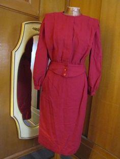 Vintage Mod Pierre Cardin Designer Cranberry Accordian Pleated Fitted Skirt Suit #PierreCardin #Set