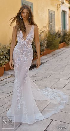 more gorgeous wedding dresses by clicking on the photo BERTA Wedding Dresses 2019 - Athens Bridal Collection. Sleeveless sheath mermaid fitted unique wedding dress with plunging neckline sophisticated Sexy Wedding Dresses, Gorgeous Wedding Dress, Designer Wedding Dresses, Bridal Dresses, Wedding Gowns, Wedding Blog, Wedding Gallery, Lace Wedding, Wedding Venues