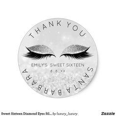 Sweet Sixteen Diamond Eyes Silver Lashes Glitter Round Sticker