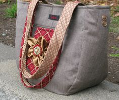 Large tote bag made from recycled men's suit coat and silk neckties