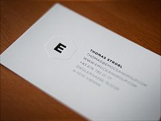I love the raised part surrounding the E and the pressed/indented E!  20 Minimal Designed Business Cards