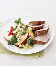 Pork tenderloin : Serves 4 ~ Per serving:  Calories 321, Protein  32g,  Carbohydrate 12g,  Sugar  9g, Fiber  2g,  Fat 15g