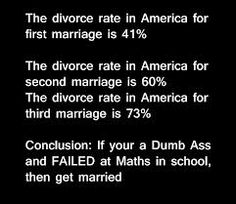 The moral should be: divorce is a lesson learned. If you can't make it work a 2nd time, then by goodness, don't even attempt a 3rd. Obviously failure has become a pattern.
