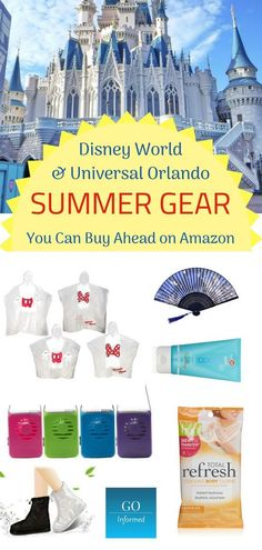 Save money and hassle, and be prepared for your Orlando theme park vacation. Buy your summer weather gear before you go! Disney World and Universal Orlando weather tips from Go Informed. Disney Vacation Surprise, Disney Honeymoon, Disney Cruise Tips, Disney 2017, Disney Travel, Disney World Gifts, Walt Disney World Vacations, Universal Studios Florida, Universal Orlando