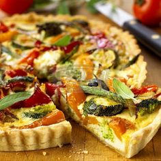 Vegetarian Quiche - a recipe with wholemeal pastry