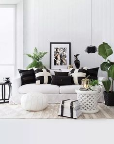 I just love the black and white colour scheme! - Louize van Zyl - I just love the black and white colour scheme! I just love the black and white colour scheme! Black And White Living Room, Room Colors, Living Room White, Room Design, Furniture, Indian Living Rooms, White Living, White Lounge, White Carpet Living Room