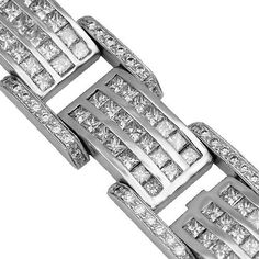 14K White Gold Mens Diamond Bracelet 28.00 Ctw