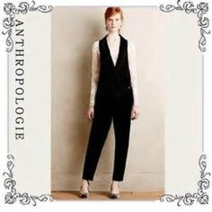 Anthropologie Harlyn Velvet Tuxedo Jumpsuit NWOT Goes elegant and classic with this Harlyn Velvet Black Tuxedo jumpsuit from Anthropologie, Never worn, best suit with the longsleeve intricate lace top. More of of 14-16.Loose Fit, NWOT Anthropologie Other