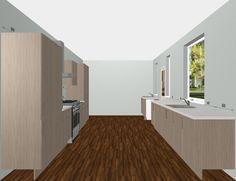 Mahlzeit Kitchen Design. Wooden Cabinetry with White Corian Appliances. Free 3D Kitchen Planner.