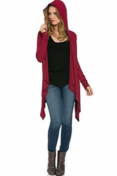 8888c63f51 Sassy Apparel Womens Asymmetric Hemline Tunic Style Hooded Fashion Cardigan  Top     Details can