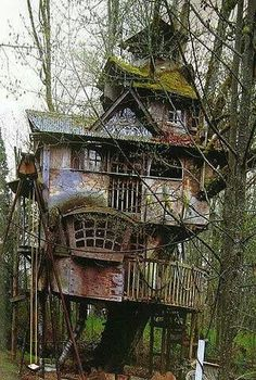 Abandoned Tree House -- Kind of gives me the creeps. in more ways than just a normal abandoned house. Also, I wish I had an epic tree house like that. Abandoned Mansions, Abandoned Buildings, Abandoned Places, Tree House Designs, In The Tree, Play Houses, Dog Houses, Fairy Houses, Beautiful Places