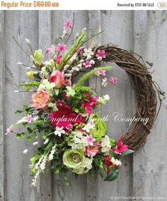 SUPER SALE Spring Wreath Easter Wreath Floral by NewEnglandWreath