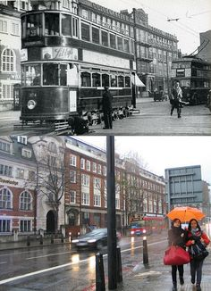 Cross, Reynolds News, Gray's Inn Road, 1938 and 2012 Vintage London, Old London, Old Pictures, Old Photos, History Of England, London History, London Bus, London Transport, Old Street