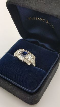 Vintage Tiffany and Co. Sapphire with Diamonds Platinum Ring