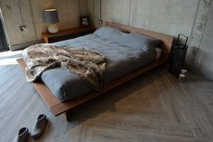 The Oregon bed in solid walnut, from Natural Bed Company…