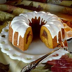 A surprise filling of brown sugar streusel makes this Sour Cream Pumpkin Bundt Cake a special treat. Save a bit of icing for drizzling over each serving of this wonderful cake!