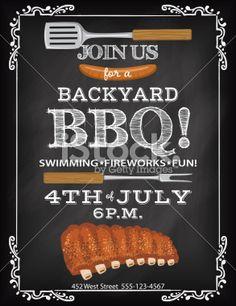 BBQ Invitation Template On A Chalkboard Base Royalty Free Stock Vector Art Illustration