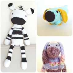 Crochet Amigurumi PATTERN Pack Special Offer Zebra Bunny And Dog Plush Toys Animals Easy Crochet Patterns
