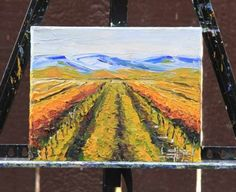 T I T L E: Autumn in Napa ll  Y E A R: 2016  I N S P I R E D* B Y: The hues of Napa Valley here in Northern California in fall, always beautiful, vibrant, colorful, warm, and inviting.  C O L O R S: Cerulean Blue, Titanium White, Prussian Blue, Naples Yellow, Cadmium Yellow, Cadmium Orange, Cadmium Red, Alizarin Crimson  M A T E R I A L S: Artist quality oil paints, Gallery Wrapped, Back Stapled Canvas. Sides are painted with continued colors, no frame required.    P A I N T I N G* S H I P…