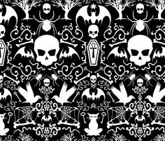 313 Gothic Black fabric by ~lilibat~ on Spoonflower - custom fabric Gothic Wallpaper, Skull Wallpaper, Pattern Wallpaper, Halloween Labels, Halloween Fabric, Snowflake Wallpaper, Stick On Wallpaper, Gothic Pattern, Doodle Patterns