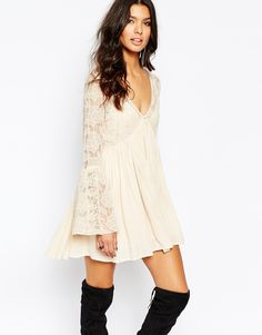 Image 1 of Free People With Love From India Lace Dress With Bell Sleeves in Cream