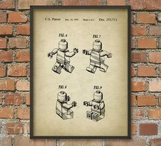 Lego Patent Wall Art Typographic Poster 1  Aged by QuantumPrints