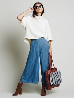 Free People High Rise Chambray Gaucho, $128.00