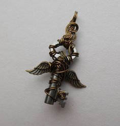 Small Angel Winged Key Pendant  Flying Key Antique Brass