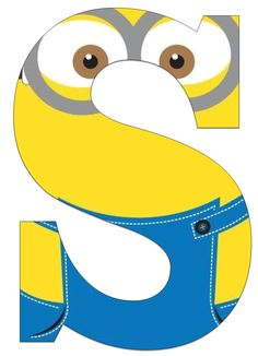 Typography - Minion Alphabet - Letter S Minion Theme, Minion Birthday, Minion Party, 2nd Birthday, Birthday Themes For Boys, Birthday Party Decorations, Minion Craft, Minions Quotes, Alphabet And Numbers