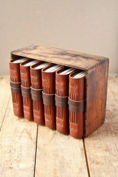 Leather Journal Box Set - Handmade Rustic Leather Journals Matching Set - OOAK