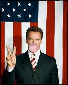Arnold Schwarzenegger, photo by Dan Winters Arnold Schwarzenegger, Scott Caan, Blowing Bubbles, Celebrity Portraits, Celebrity Photos, Thing 1, Poses, Freundlich, Famous Faces