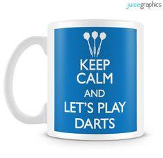 KEEP CALM and play DARTS. Funny sports mug by JuiceGraphics