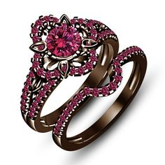 1 1/2 Ct Pink Sapphire Chocolate Color .925 Silver Wedding Ring