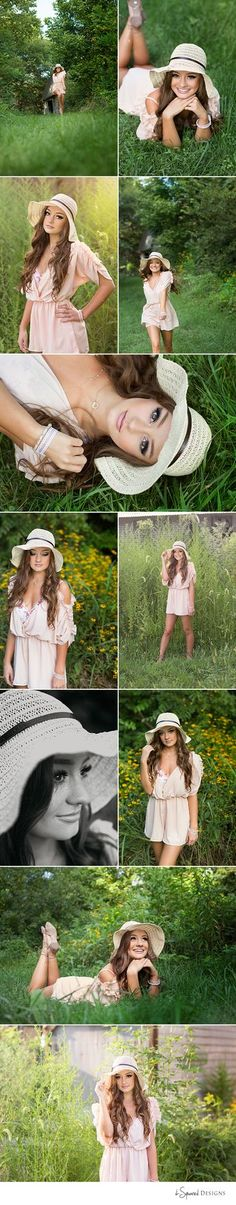 d-Squared Designs St. Louis, MO Senior Photography. Country girl senior. Gorgeous senior. Senior posing ideas. Romper and hat outfit. Summer senior girl.