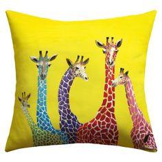 Giraffe outdoor throw pillow...so cute and bright! #Giraffe #throw #pillows   Cute!