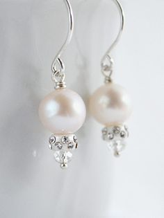 Sparkly pearl and crystal earrings. By Kahili Creations of Hawaii...