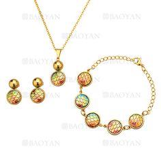 juego aretes ,collar y brazalete de cristal especial color con bola dorado en acero inoxidable -SSNEG39423