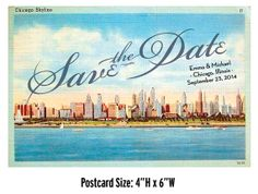 Printable Save the Date  Chicago Postcard by PetiteFramboiseNYC, $15.00
