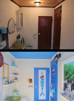 욕실의 재탄생 : <욕실 Before & After> 욕실의 컨셉은 산토리니. 몸이 깨끗해지는 공간이기도 하고,물과 관련된 공간이다보니 화이트와 블루 컬러가 아주 잘 어울린다. 욕실을 내가 좋아하는 공간으로 재현하기위해 공을 많이 들였다. 나에게 있어서 욕실은 생각을 정리하고 아이디어를 떠올리는 중요한 곳이기 때문이다. 하루 중 유일하게 시청각적 자극으로부터 벗어날 때가 언제인가. 큰 일을 볼때, 흥얼거리며 샤워를 할 때이다. 그 멍한 시간에 좋은 아이디어의 대부분이 떠오른다.