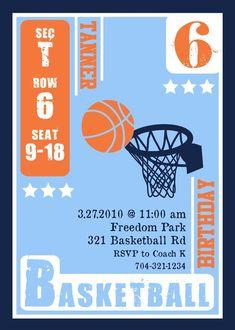 e6feade1433 Basketball Sports Game Ball Hoops Birthday - Printable Customized Invitation